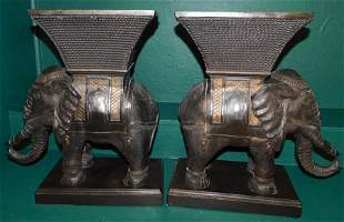 Pair Contemporary Chalk Elephant Planters