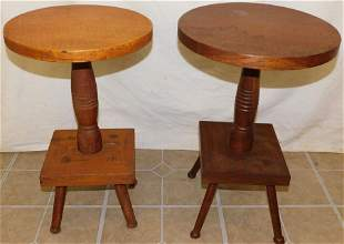Two Antique Maple & Walnut Plant Stands