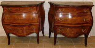 Pr French Walnut  Inlaid Bombay 3 Dr Commodes
