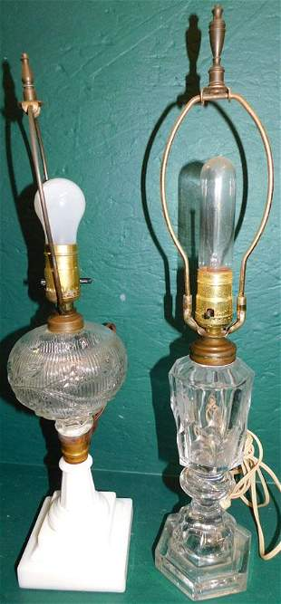 Two Early Electrified Oil Lamps