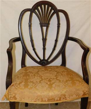 19th C Hepplewhite Shield Back Arm Chair
