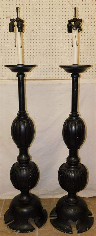 Pair Paint Decorated Carved Pole Lamps