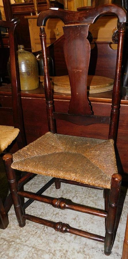 NE Tiger Maple Barrister Back Rush Bottom Chair