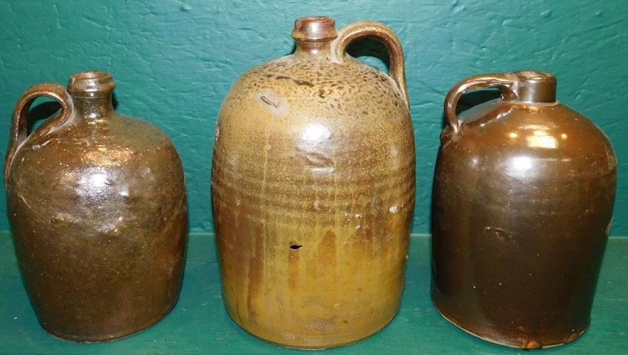 Three Early Stoneware Whiskey Jugs
