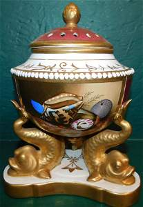 French Hand Painted Urn With Dolphin Base