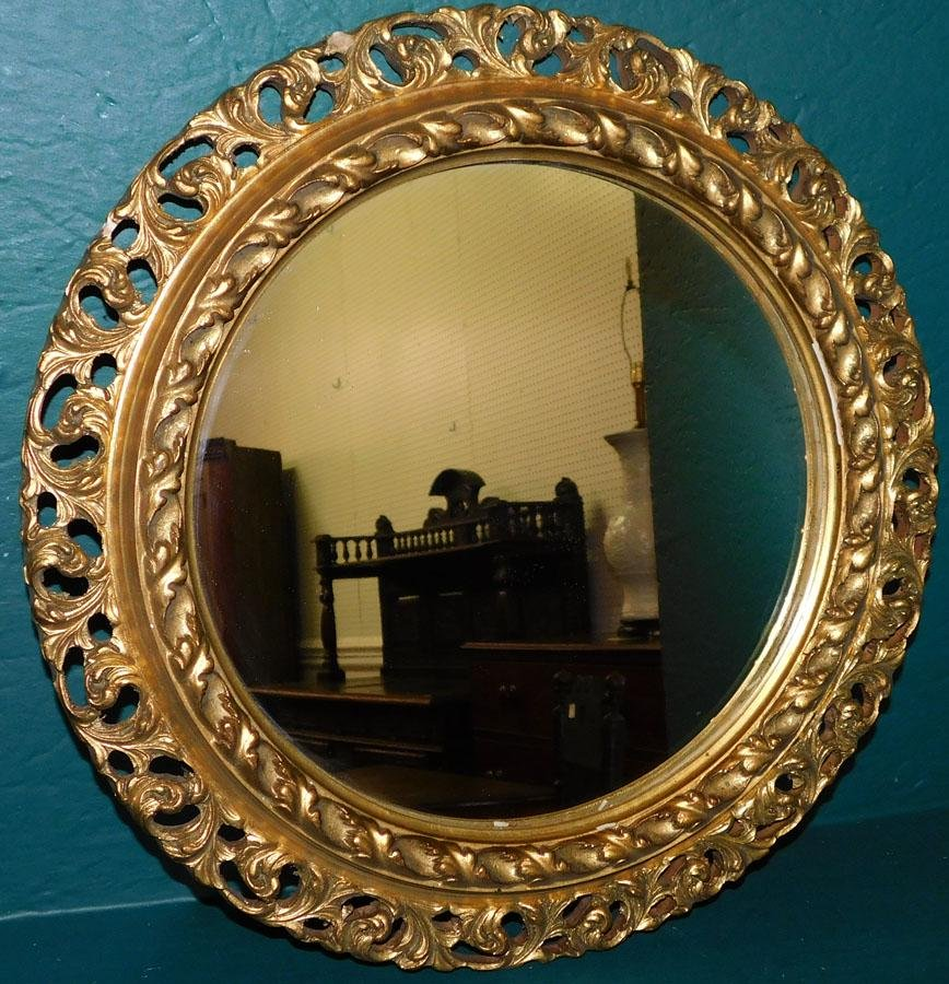 Carved Wood Gilt Framed Round Mirror