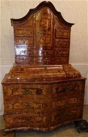 Dutch Burl Wal Secretary W/ Secret Compartments