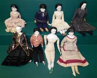 Lot 8 Antique Dolls