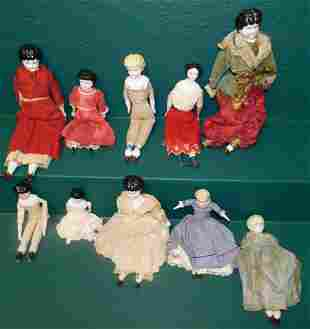 Lot 10 Antique Dolls