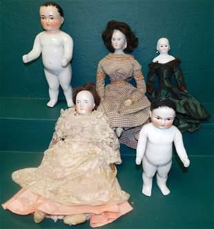 Lot 5 Antique Dolls