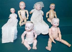 Lot 6 Antique Dolls