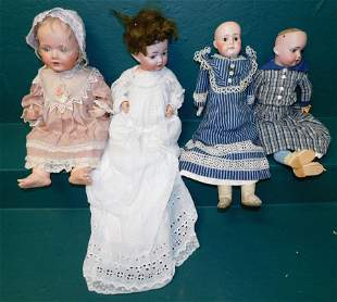 Lot 4 Antique Dolls