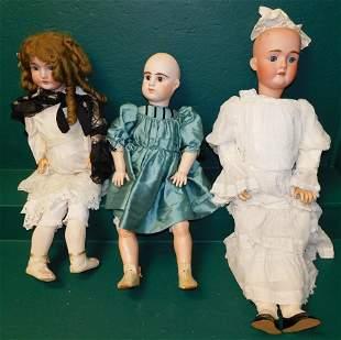 Lot 3 Antique Dolls