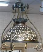 Victorian Brass Chandelier W/ Milk Glass Shade