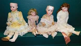Lot 4 Antique German Bisque Head Dolls