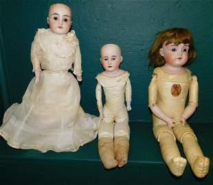 Lot 3 Antique German Bisque Head Dolls