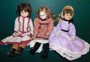 Lot 3 Antique Composition Head Dolls
