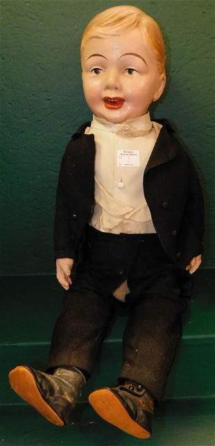 Antique Paper Mache Head Doll