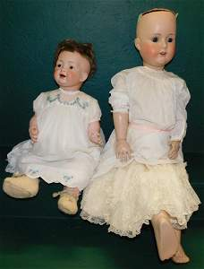 Lot 2 Antique German Bisque Head Dolls