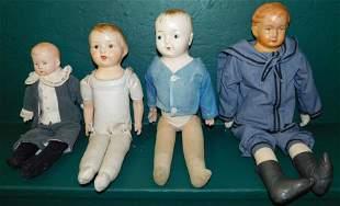 Lot 4 Antique Paper Mache Head Dolls