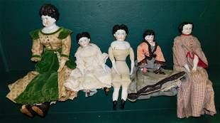 Lot 5 Antique China Head Dolls