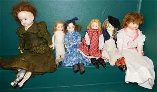 Lot 6 Antique Composition Head Dolls