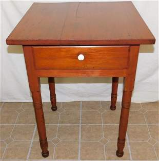 19th C One Drawer Pine Work Table