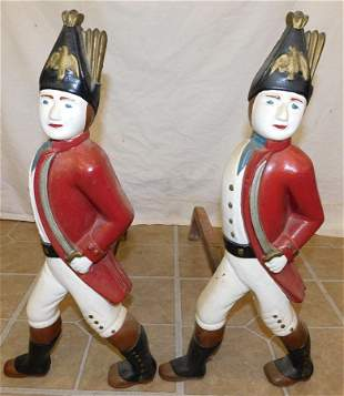 Pair Hessian Soldier Cast Iron Andirons