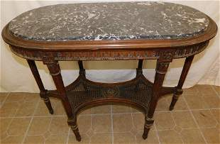 Walnut Oval Marble Top Table
