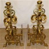 Pair Heavy Brass Andirons W/ Antelope Motif