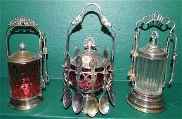 Two Pickle Castors & One Jelly Jar W/ Spoons