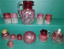 12 Pc Lot Cranberry Glass