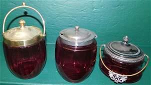 Three Cranberry & SP Biscuit Jars