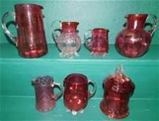 7 Pc Cranberry Glass