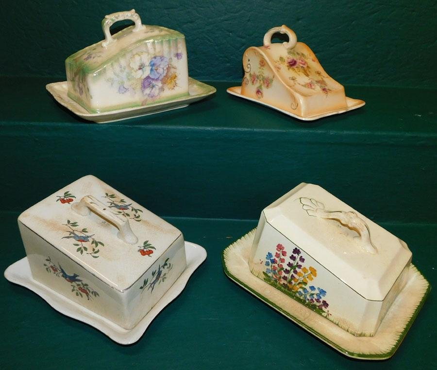 4 English Porcelain Cheese Dishes