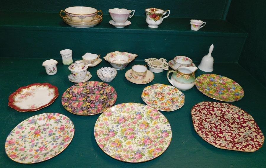 Box Lot Porcelain Cups & Saucers Plates