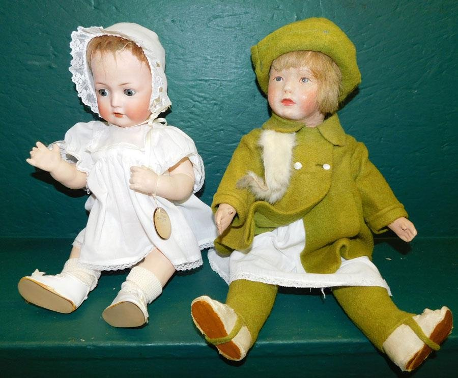Two Antique Dolls -1 Bisque Head & 1 Paper Mache