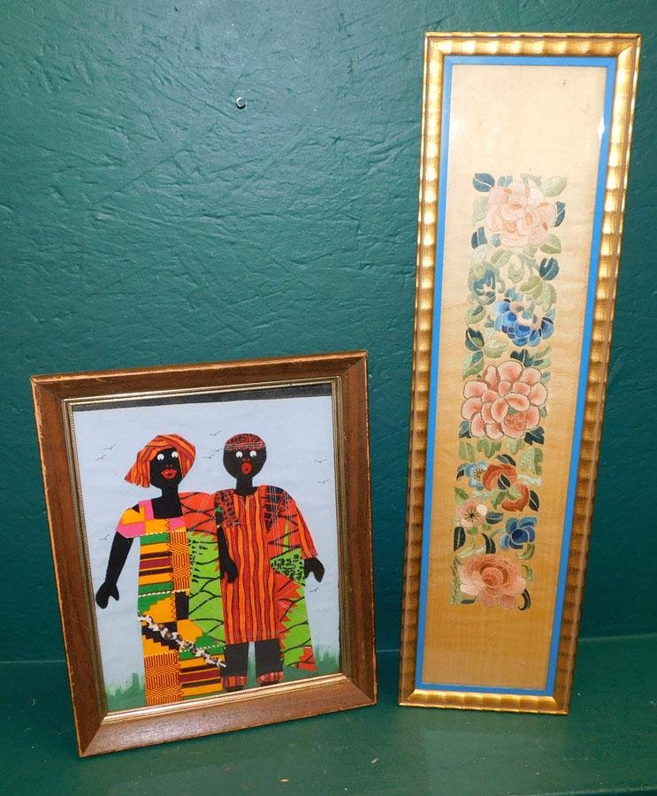 Framed African Hand Made Dolls & Framed Embroidery