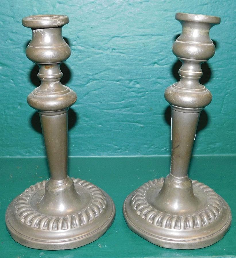 Pair Antique Pewter Candlesticks
