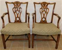 Pair Mahogany Chippendale Arm Chairs