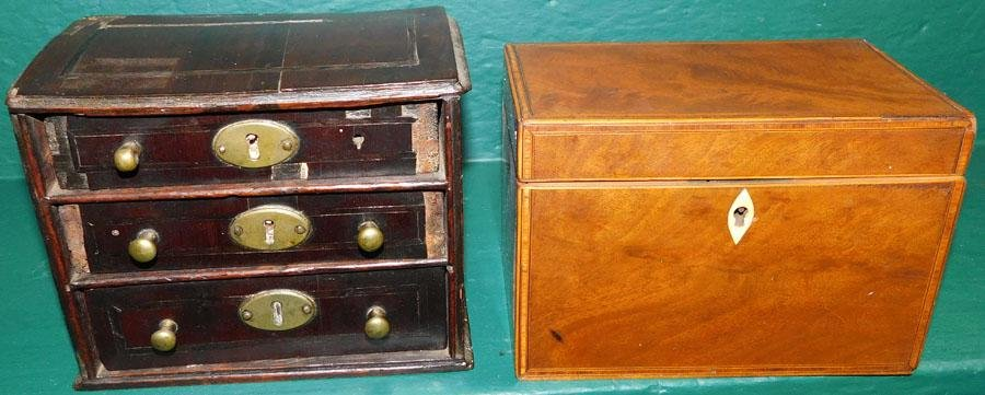 19th C Miniature Chest & Tea Box