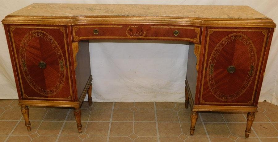 Adams Style Paint Decorated  Vanity W/ Marble Top