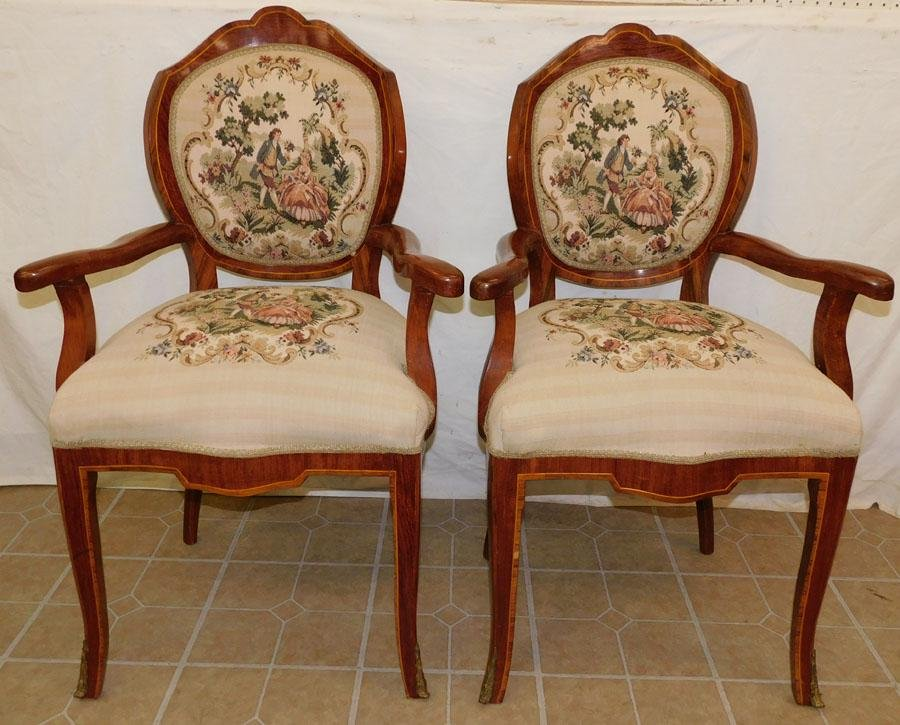 Pair French Rosewood Inlay Arm Chairs