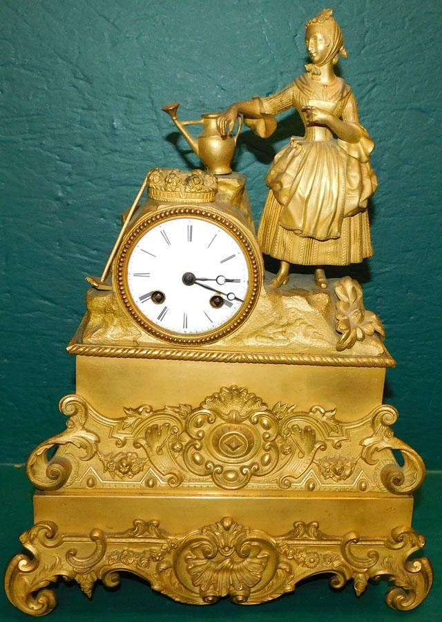 French Gilt Metal Mantle Clock