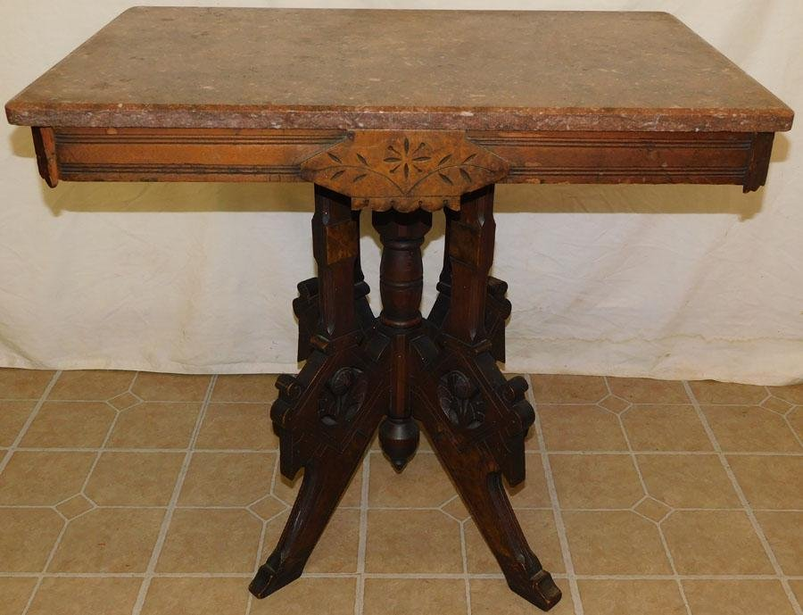 Victorian Walnut Table W/ Marble Top