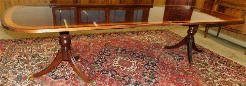 Ethan Allen Mahogany 2-Pedestal Table W/2 Leaves