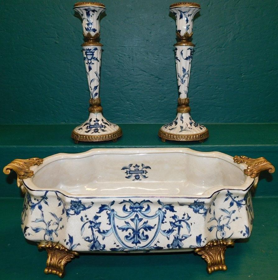 Bronze & Porcelain Jardiniere & Pr Candlesticks