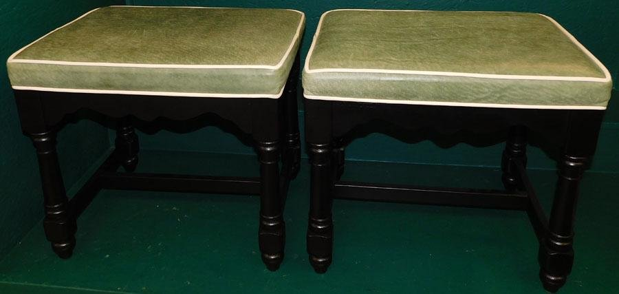 Pair Black lacquered & leather top ottomons