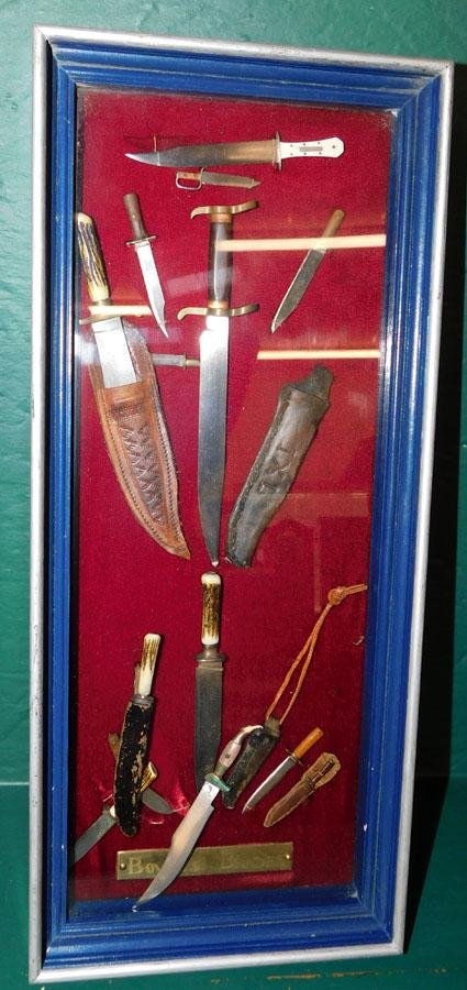 Lot Of Knives In Display Case