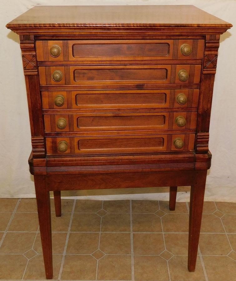 Victorian Tiger Maple Top Spool Cabinet